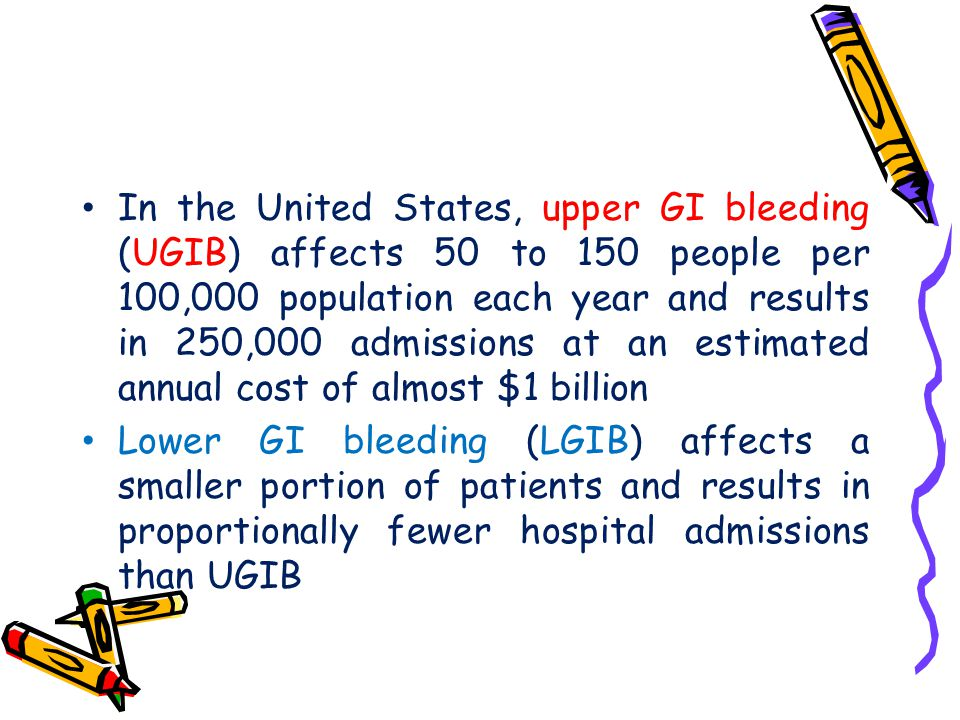 In the United States, upper GI bleeding (UGIB) affects 50 to 150 people per 100,000 population each year and results in 250,000 admissions at an estim