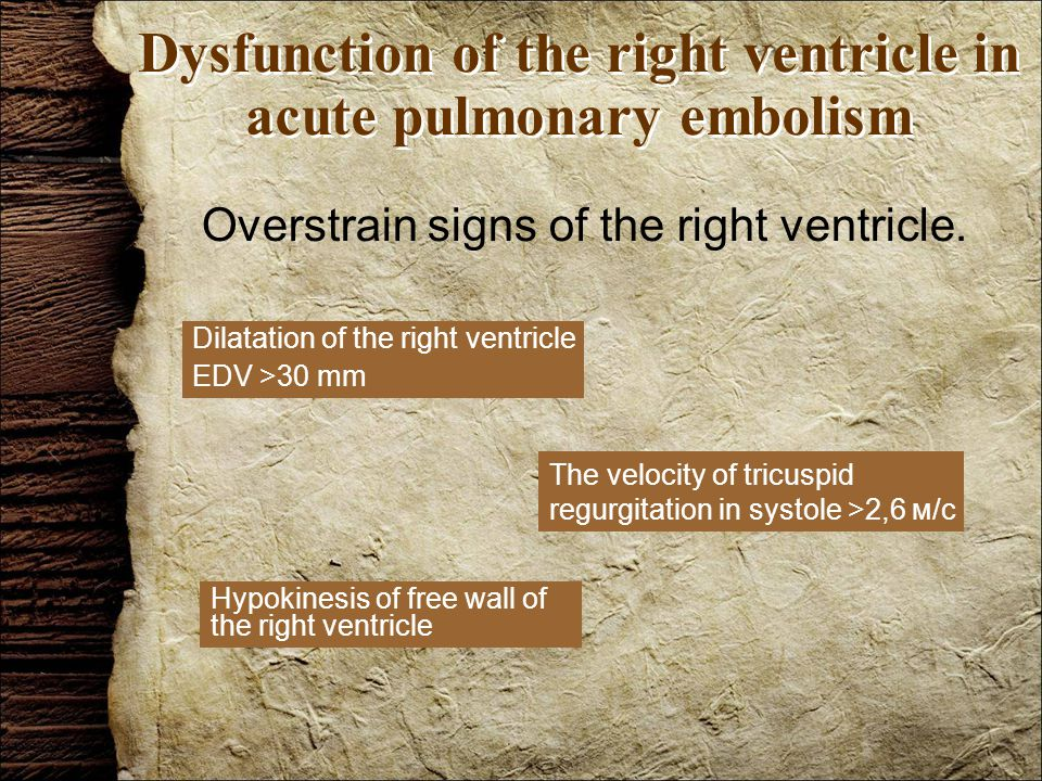 Dysfunction of the right ventricle in acute pulmonary embolism Overstrain signs of the right ventricle.