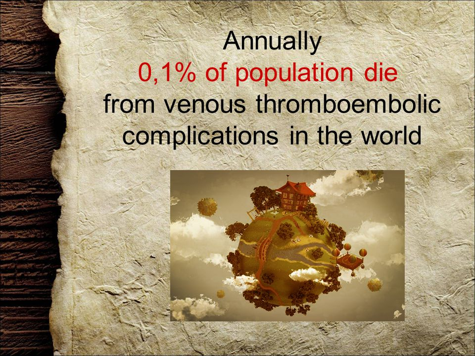 Annually 0,1% of population die from venous thromboembolic complications in the world