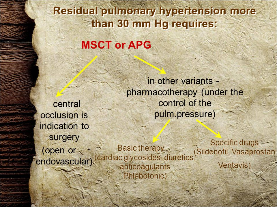 Residual pulmonary hypertension more than 30 mm Hg requires: MSCT or APG central occlusion is indication to surgery (open or endovascular) in other variants - pharmacotherapy (under the control of the pulm.pressure) Basic therapy (cardiac glycosides, diuretics, anticoagulants Phlebotonic) Specific drugs (Sildenofil, Vasaprostan Ventavis)