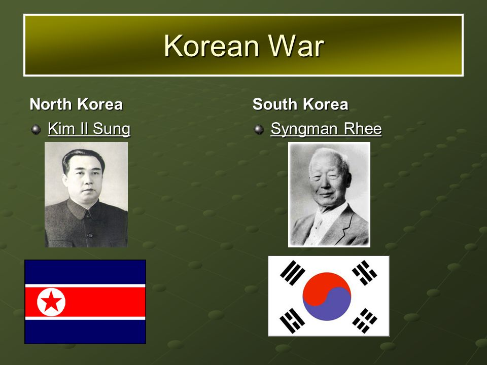 North Korea Kim Il Sung South Korea Syngman Rhee Korean War