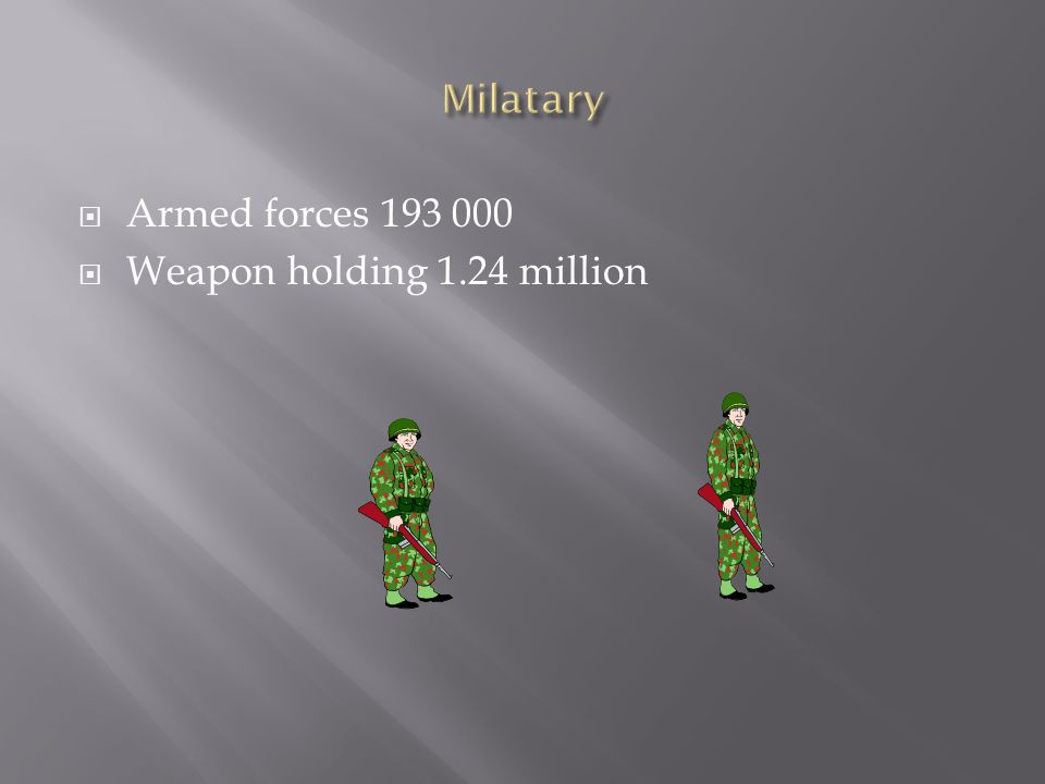  Armed forces 193 000  Weapon holding 1.24 million