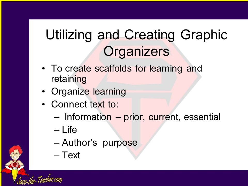 Utilizing and Creating Graphic Organizers To create scaffolds for learning and retaining Organize learning Connect text to: – Information – prior, current, essential –Life –Author's purpose –Text