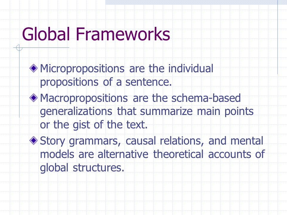Global Frameworks Micropropositions are the individual propositions of a sentence.