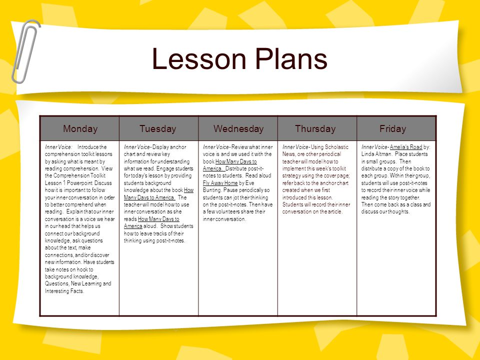 Lesson Plans Monday Tuesday Wednesday Thursday Friday Inner Voice: Introduce the comprehension toolkit lessons by asking what is meant by reading comp