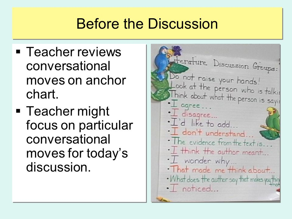 Before the Discussion  Teacher reviews conversational moves on anchor chart.  Teacher might focus on particular conversational moves for today's dis