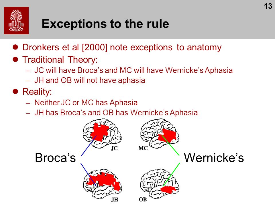13 Exceptions to the rule Dronkers et al [2000] note exceptions to anatomy Traditional Theory: –JC will have Broca's and MC will have Wernicke's Aphasia –JH and OB will not have aphasia Reality: –Neither JC or MC has Aphasia –JH has Broca's and OB has Wernicke's Aphasia.