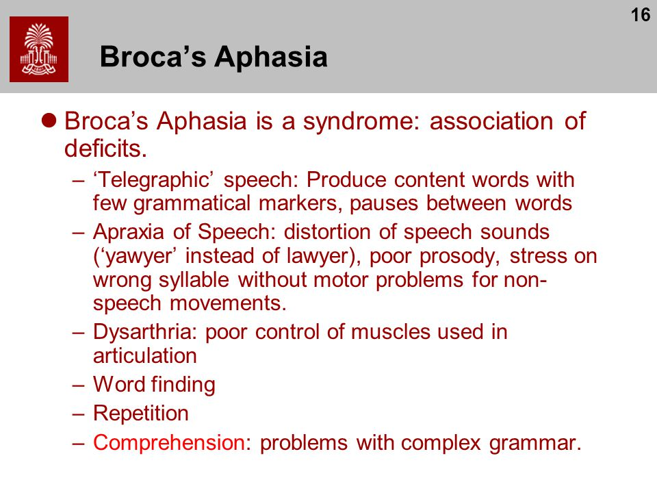 16 Broca's Aphasia Broca's Aphasia is a syndrome: association of deficits. –'Telegraphic' speech: Produce content words with few grammatical markers,