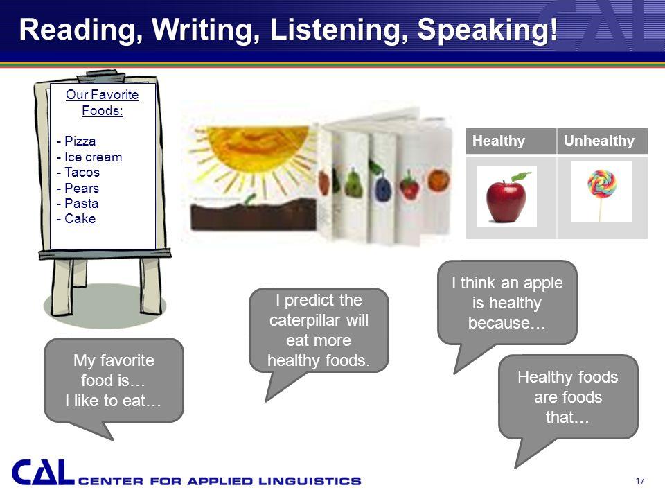 Reading, Writing, Listening, Speaking.