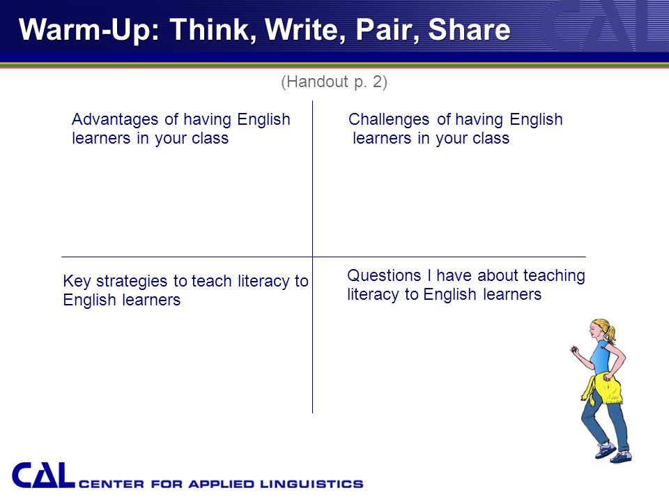 Warm-Up: Think, Write, Pair, Share Advantages of having English learners in your class Challenges of having English learners in your class Key strategies to teach literacy to English learners Questions I have about teaching literacy to English learners (Handout p.