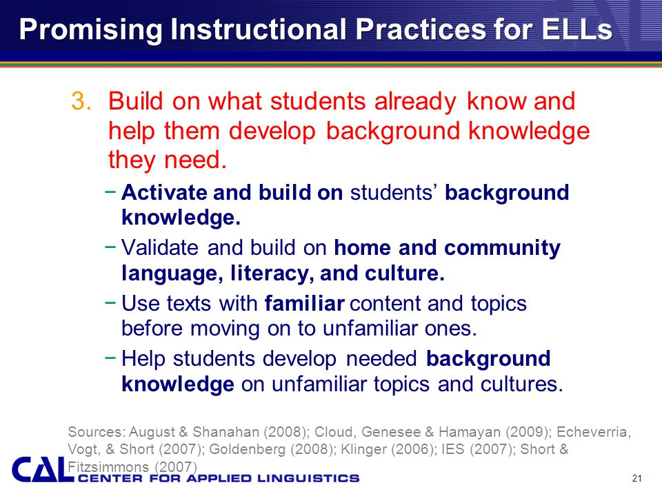 Promising Instructional Practices for ELLs 3.Build on what students already know and help them develop background knowledge they need.
