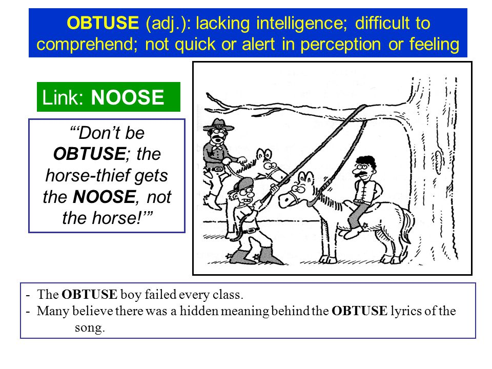OBTUSE (adj.): lacking intelligence; difficult to comprehend; not quick or alert in perception or feeling Link: NOOSE 'Don't be OBTUSE; the horse-thief gets the NOOSE, not the horse!' - The OBTUSE boy failed every class.