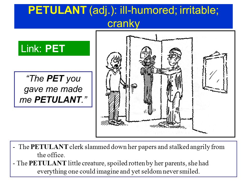 PETULANT (adj.): ill-humored; irritable; cranky Link: PET The PET you gave me made me PETULANT. - The PETULANT clerk slammed down her papers and stalked angrily from the office.