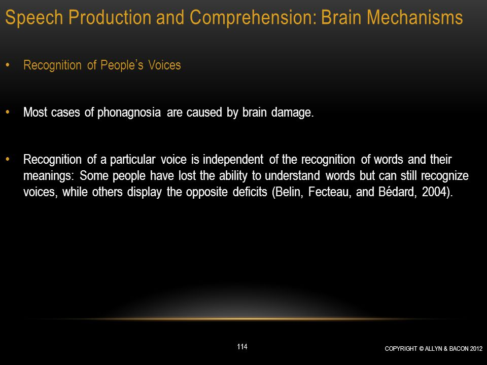 Speech Production and Comprehension: Brain Mechanisms Recognition of People's Voices Most cases of phonagnosia are caused by brain damage. Recognition