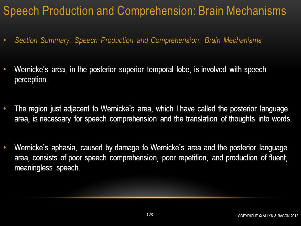 Speech Production and Comprehension: Brain Mechanisms Section Summary: Speech Production and Comprehension: Brain Mechanisms Wernicke's area, in the p
