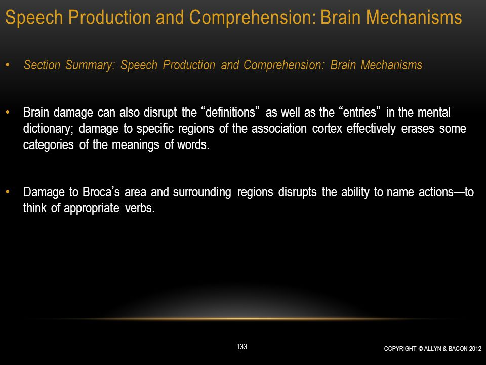 Speech Production and Comprehension: Brain Mechanisms Section Summary: Speech Production and Comprehension: Brain Mechanisms Brain damage can also dis