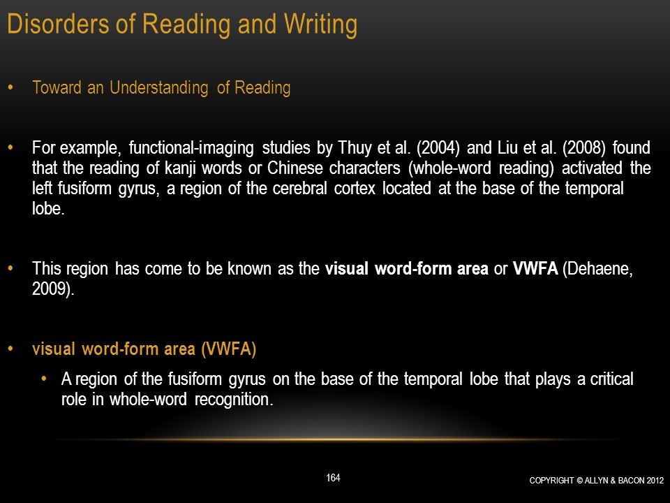 Disorders of Reading and Writing Toward an Understanding of Reading For example, functional-imaging studies by Thuy et al. (2004) and Liu et al. (2008