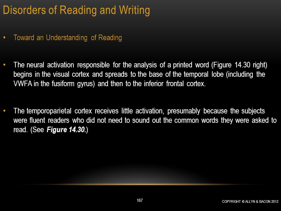 Disorders of Reading and Writing Toward an Understanding of Reading The neural activation responsible for the analysis of a printed word (Figure 14.30