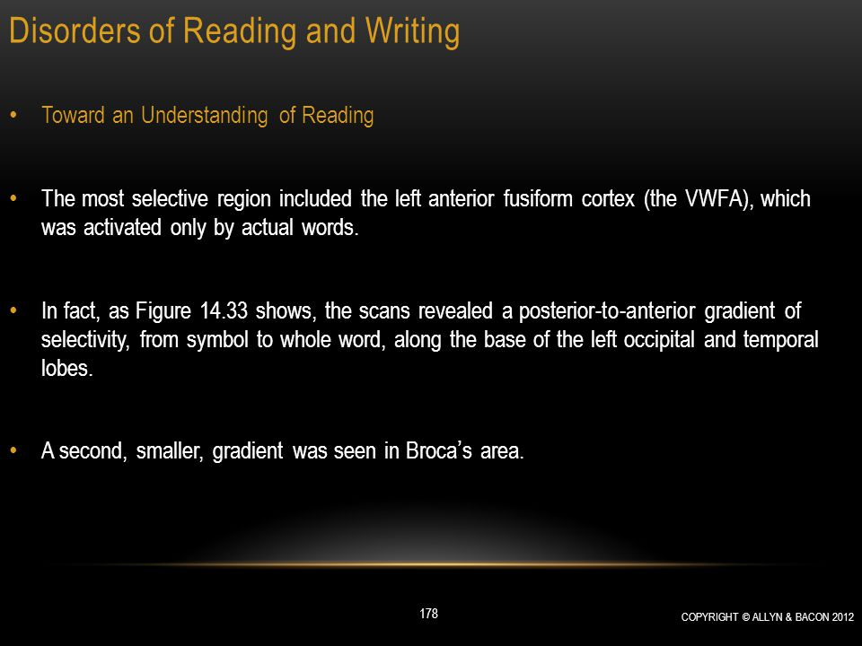 Disorders of Reading and Writing Toward an Understanding of Reading The most selective region included the left anterior fusiform cortex (the VWFA), w