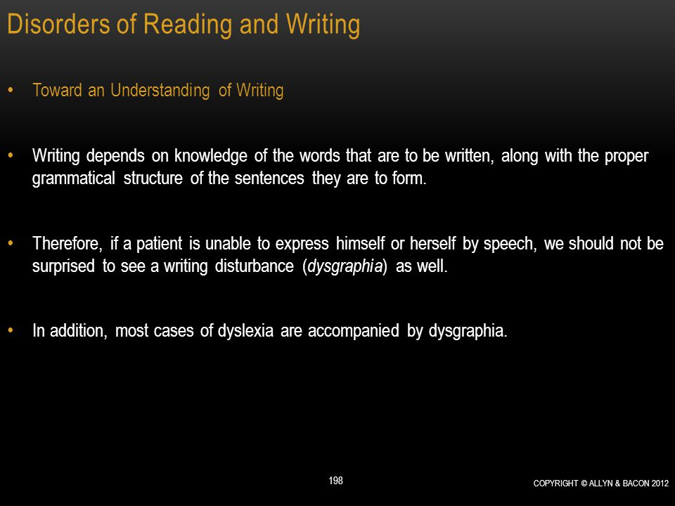 Disorders of Reading and Writing Toward an Understanding of Writing Writing depends on knowledge of the words that are to be written, along with the p