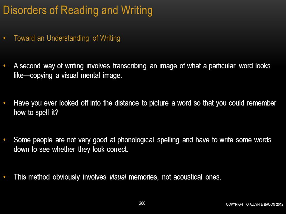 Disorders of Reading and Writing Toward an Understanding of Writing A second way of writing involves transcribing an image of what a particular word l