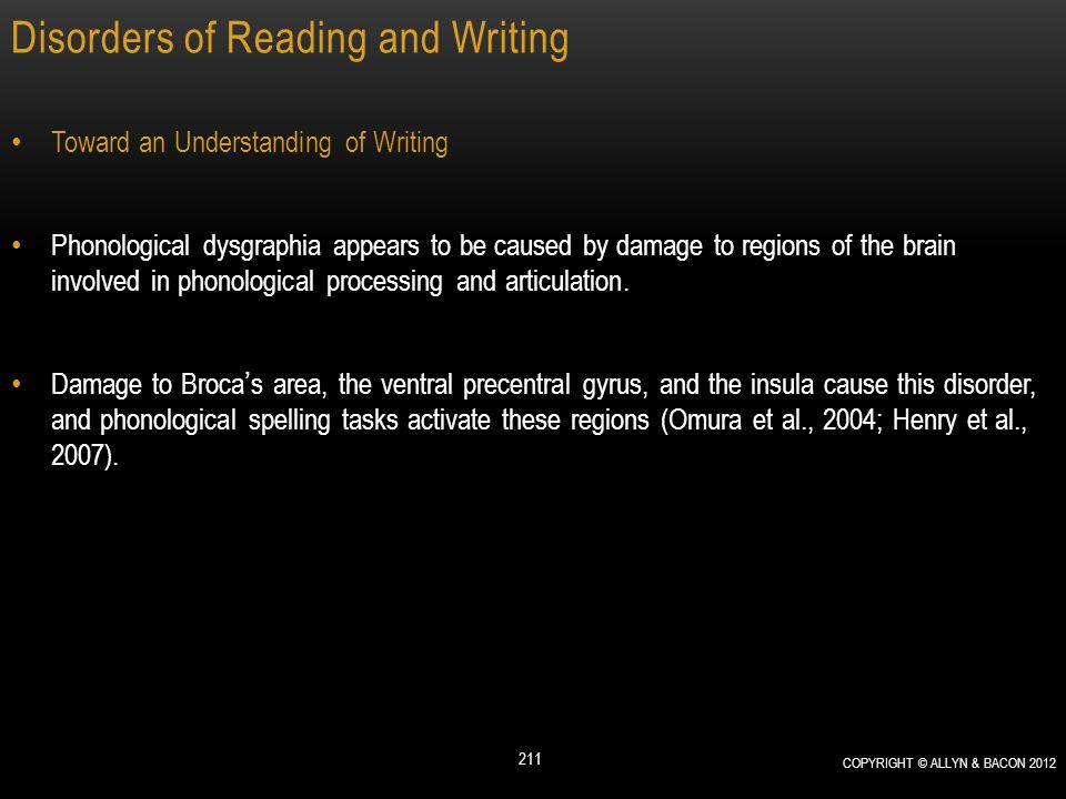 Disorders of Reading and Writing Toward an Understanding of Writing Phonological dysgraphia appears to be caused by damage to regions of the brain inv