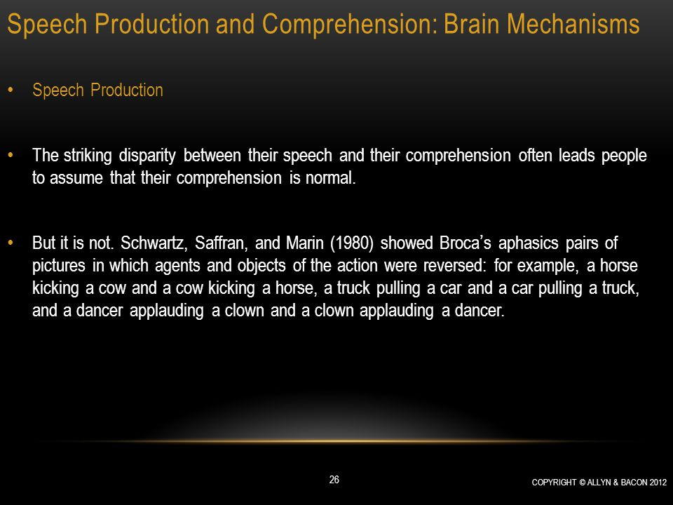 Speech Production and Comprehension: Brain Mechanisms Speech Production The striking disparity between their speech and their comprehension often lead