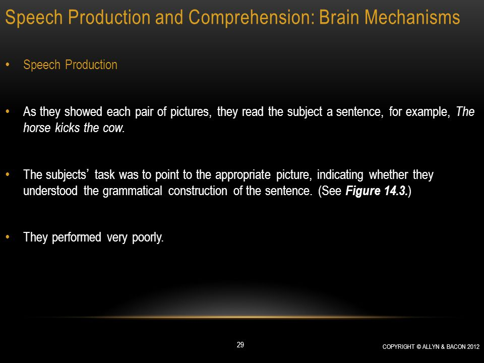 Speech Production and Comprehension: Brain Mechanisms Speech Production As they showed each pair of pictures, they read the subject a sentence, for ex