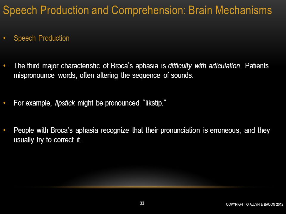 Speech Production and Comprehension: Brain Mechanisms Speech Production The third major characteristic of Broca's aphasia is difficulty with articulat