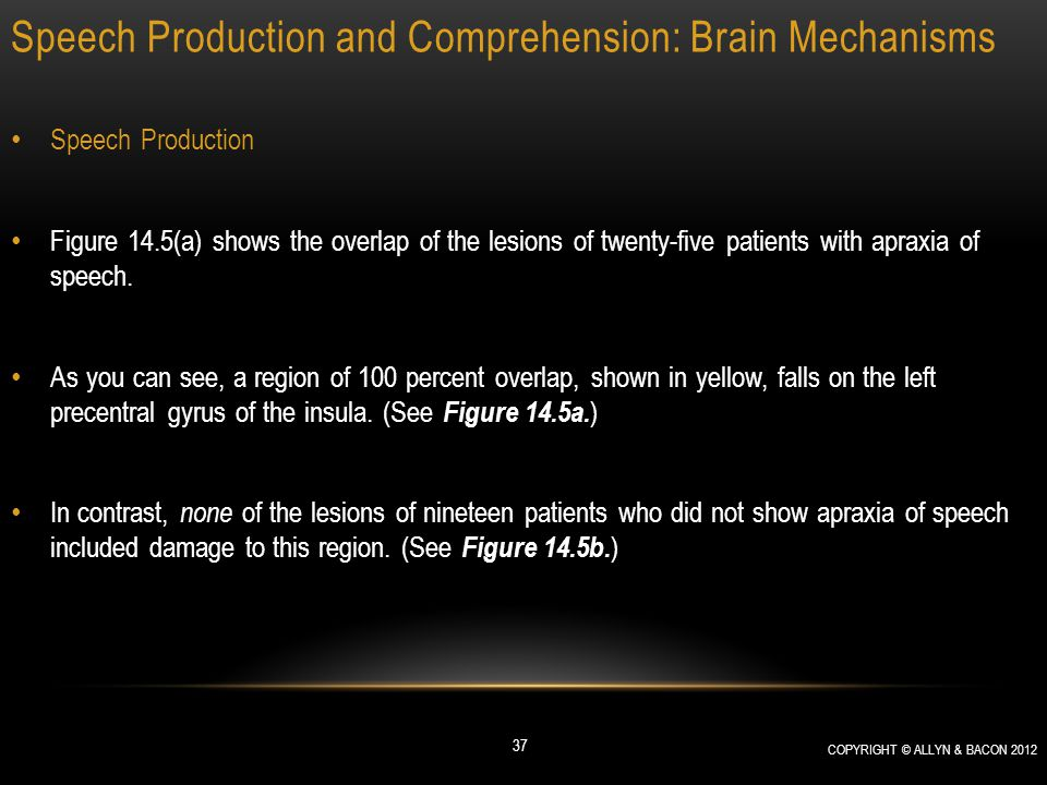 Speech Production and Comprehension: Brain Mechanisms Speech Production Figure 14.5(a) shows the overlap of the lesions of twenty-five patients with a