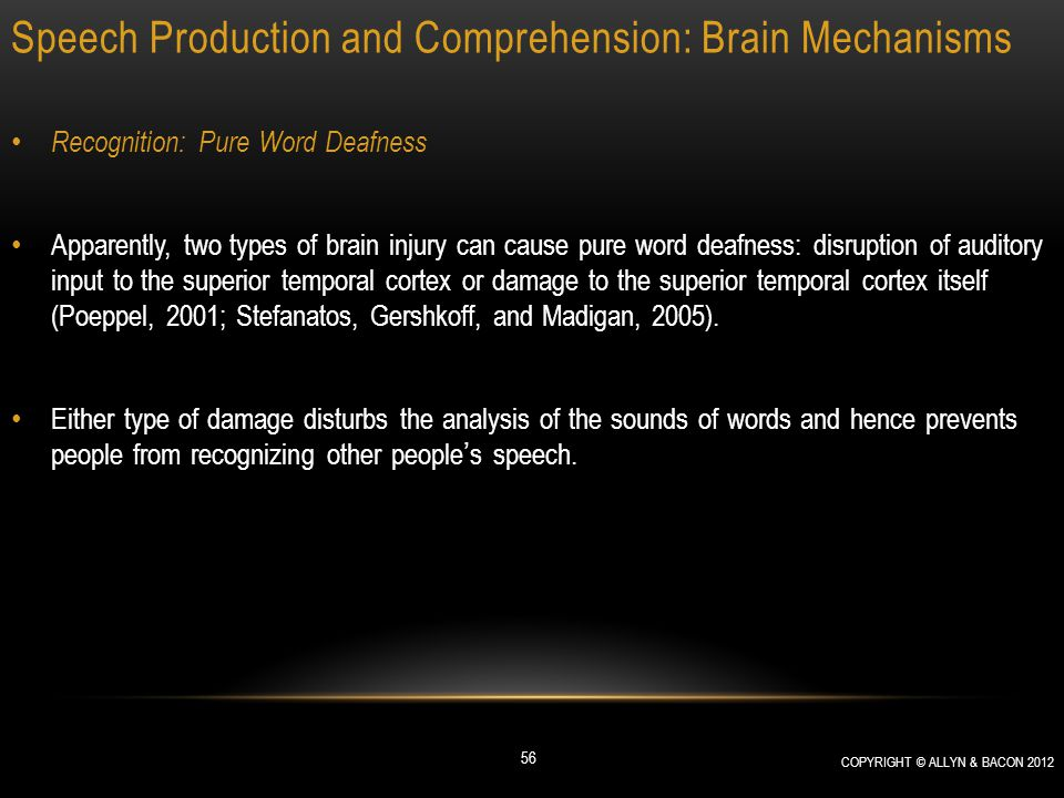Speech Production and Comprehension: Brain Mechanisms Recognition: Pure Word Deafness Apparently, two types of brain injury can cause pure word deafne