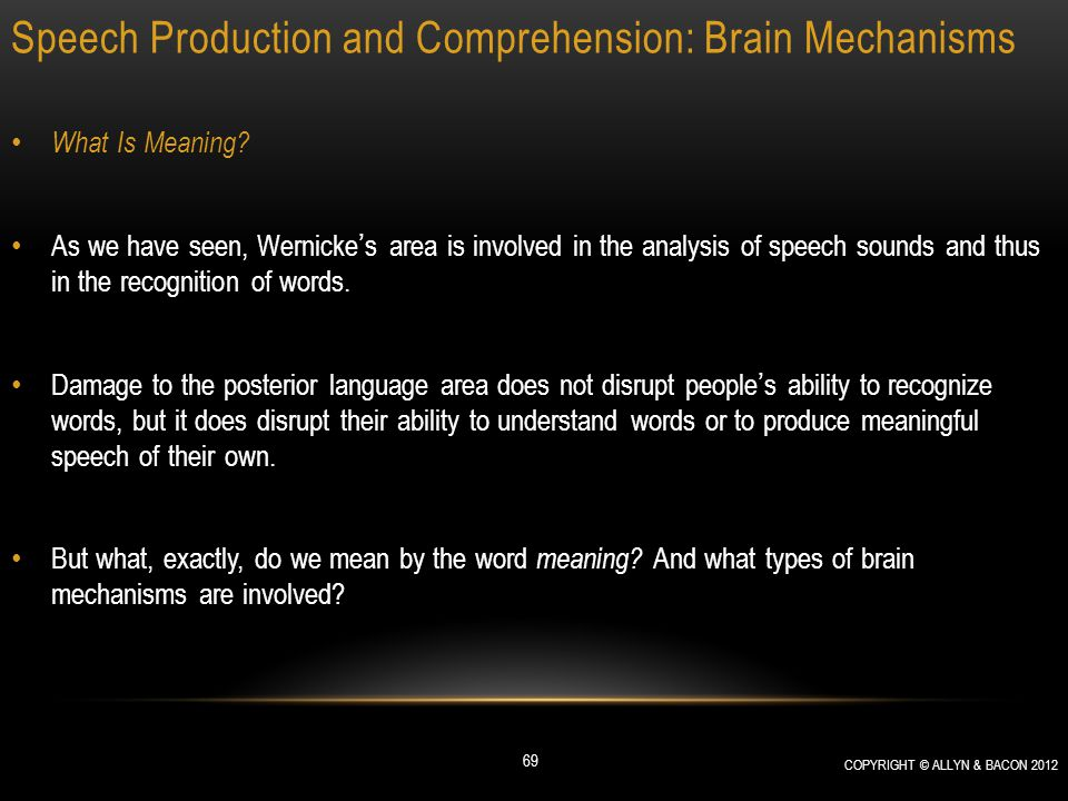 Speech Production and Comprehension: Brain Mechanisms What Is Meaning? As we have seen, Wernicke's area is involved in the analysis of speech sounds a