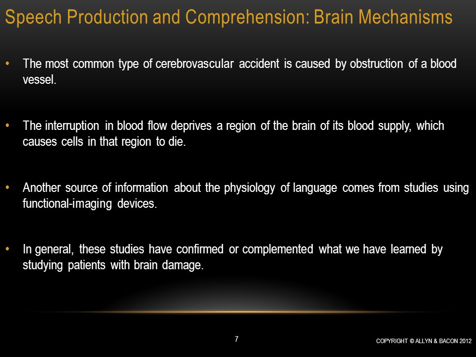 Speech Production and Comprehension: Brain Mechanisms Speech Production Agrammatism refers to a patient's difficulty in using grammatical constructions.