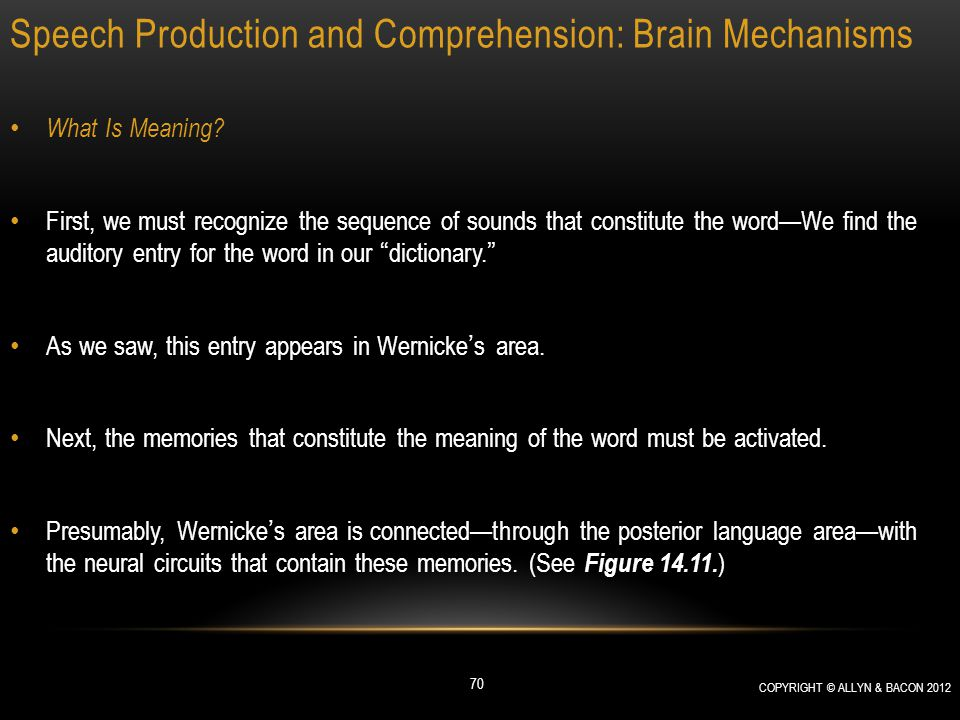 Speech Production and Comprehension: Brain Mechanisms What Is Meaning? First, we must recognize the sequence of sounds that constitute the word—We fin