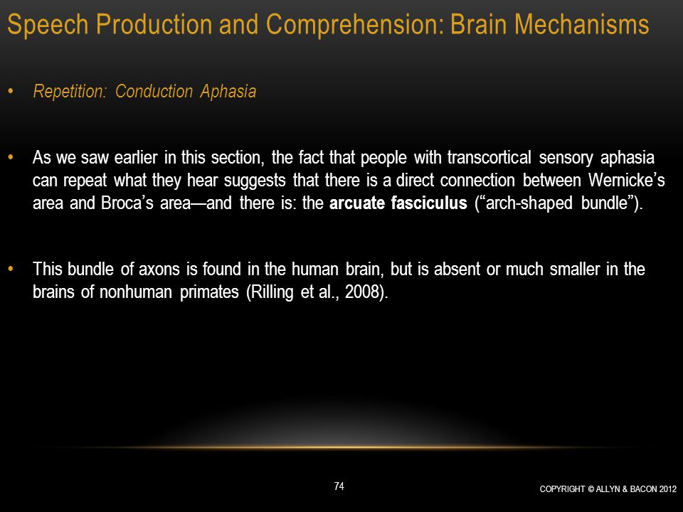 Speech Production and Comprehension: Brain Mechanisms Repetition: Conduction Aphasia As we saw earlier in this section, the fact that people with tran
