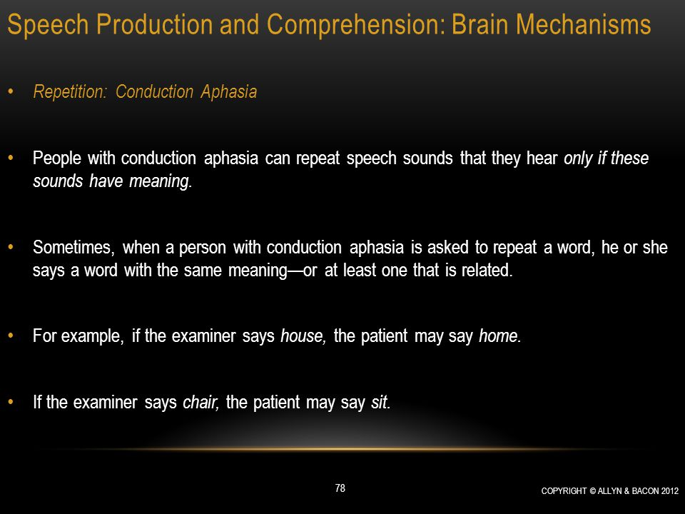 Speech Production and Comprehension: Brain Mechanisms Repetition: Conduction Aphasia People with conduction aphasia can repeat speech sounds that they