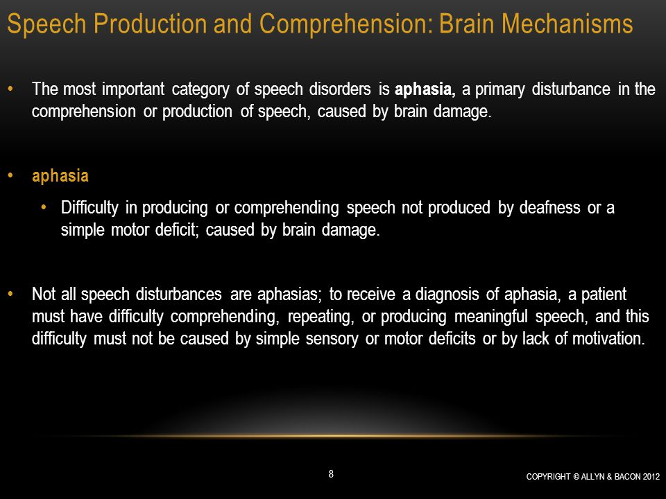 Speech Production and Comprehension: Brain Mechanisms Section Summary: Speech Production and Comprehension: Brain Mechanisms Transcortical sensory aphasia, caused by damage to the posterior speech area, consists of poor speech comprehension and production, but the patients can repeat what they hear.