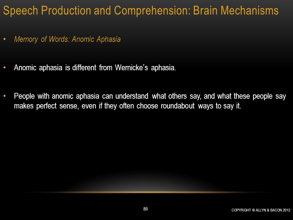 Speech Production and Comprehension: Brain Mechanisms Memory of Words: Anomic Aphasia Anomic aphasia is different from Wernicke's aphasia. People with