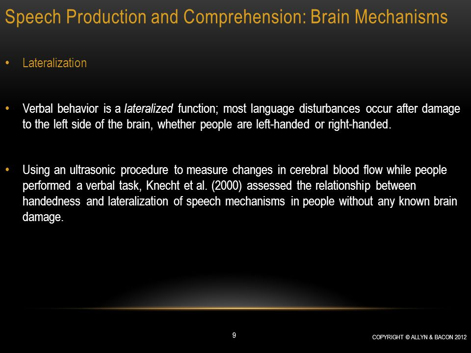 Speech Production and Comprehension: Brain Mechanisms Speech Production People with Broca's aphasia can comprehend speech much better than they can produce it.