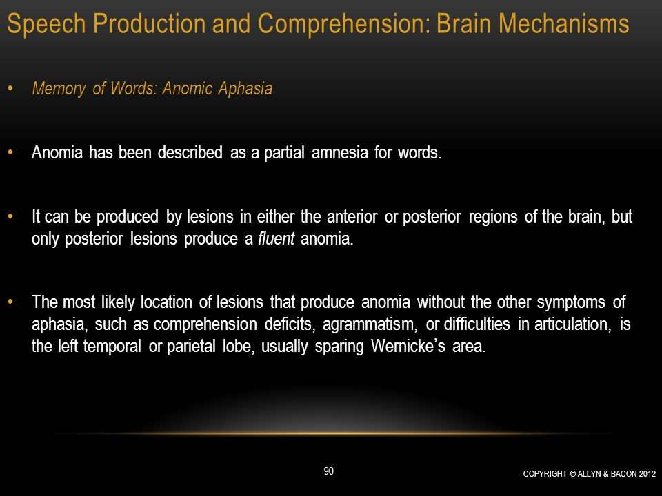 Speech Production and Comprehension: Brain Mechanisms Memory of Words: Anomic Aphasia Anomia has been described as a partial amnesia for words. It can