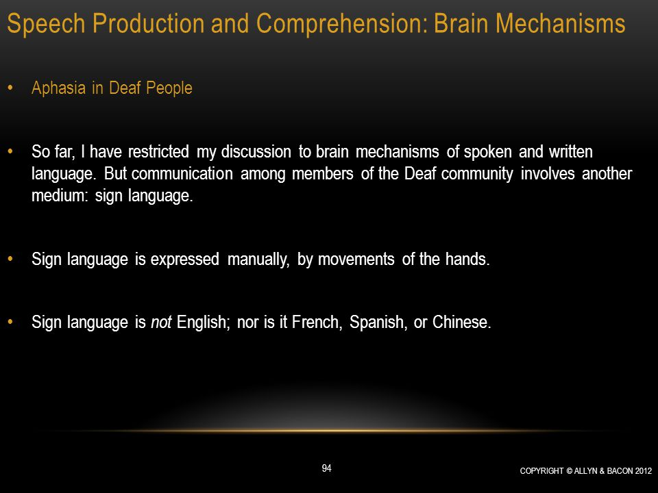 Speech Production and Comprehension: Brain Mechanisms Aphasia in Deaf People So far, I have restricted my discussion to brain mechanisms of spoken and