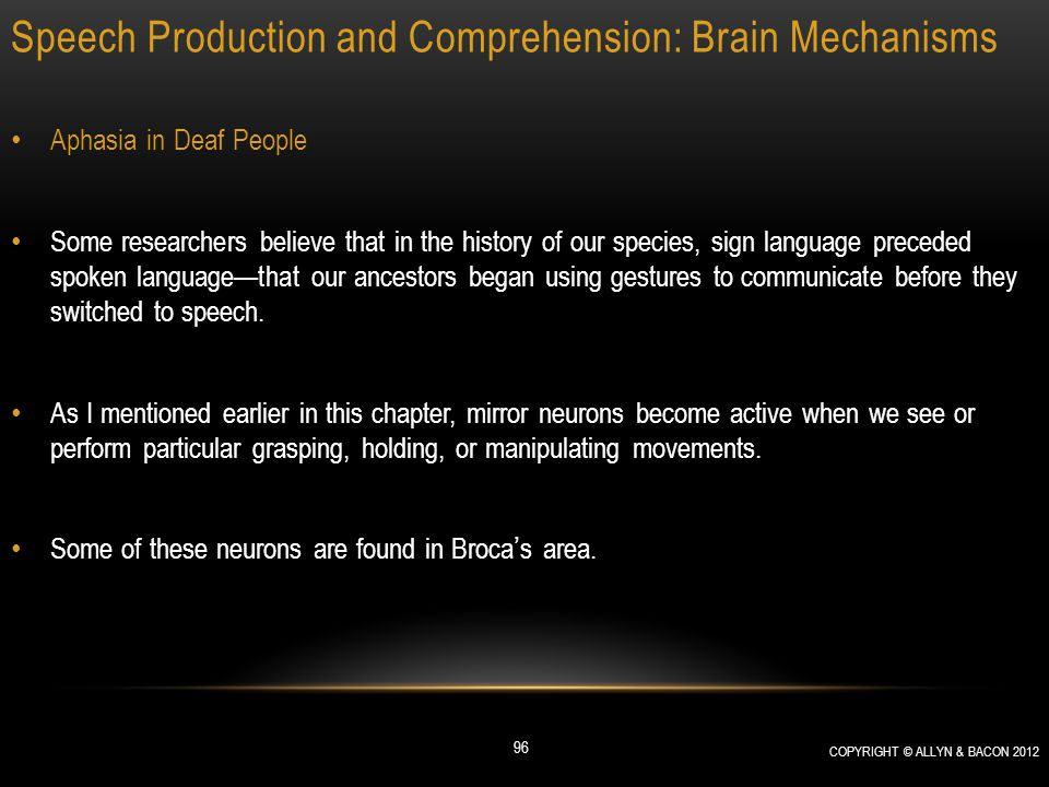 Speech Production and Comprehension: Brain Mechanisms Aphasia in Deaf People Some researchers believe that in the history of our species, sign languag