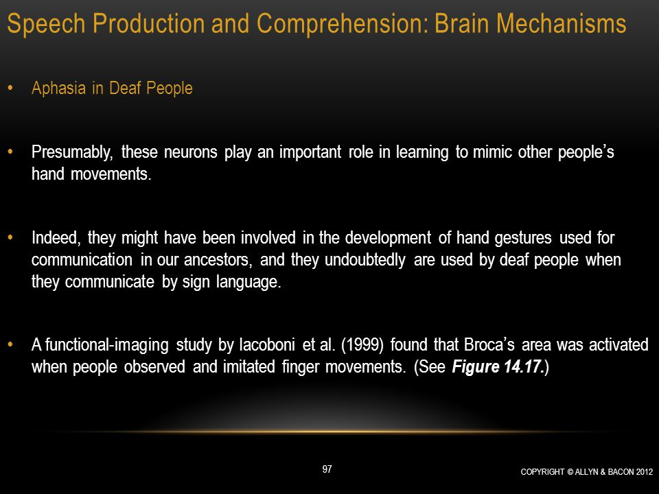 Speech Production and Comprehension: Brain Mechanisms Aphasia in Deaf People Presumably, these neurons play an important role in learning to mimic oth