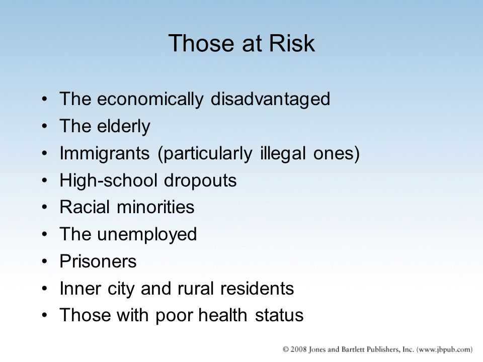 Those at Risk The economically disadvantaged The elderly Immigrants (particularly illegal ones) High-school dropouts Racial minorities The unemployed