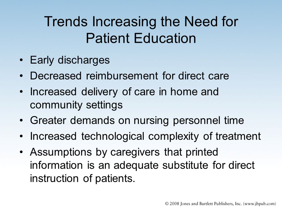 Trends Increasing the Need for Patient Education Early discharges Decreased reimbursement for direct care Increased delivery of care in home and commu