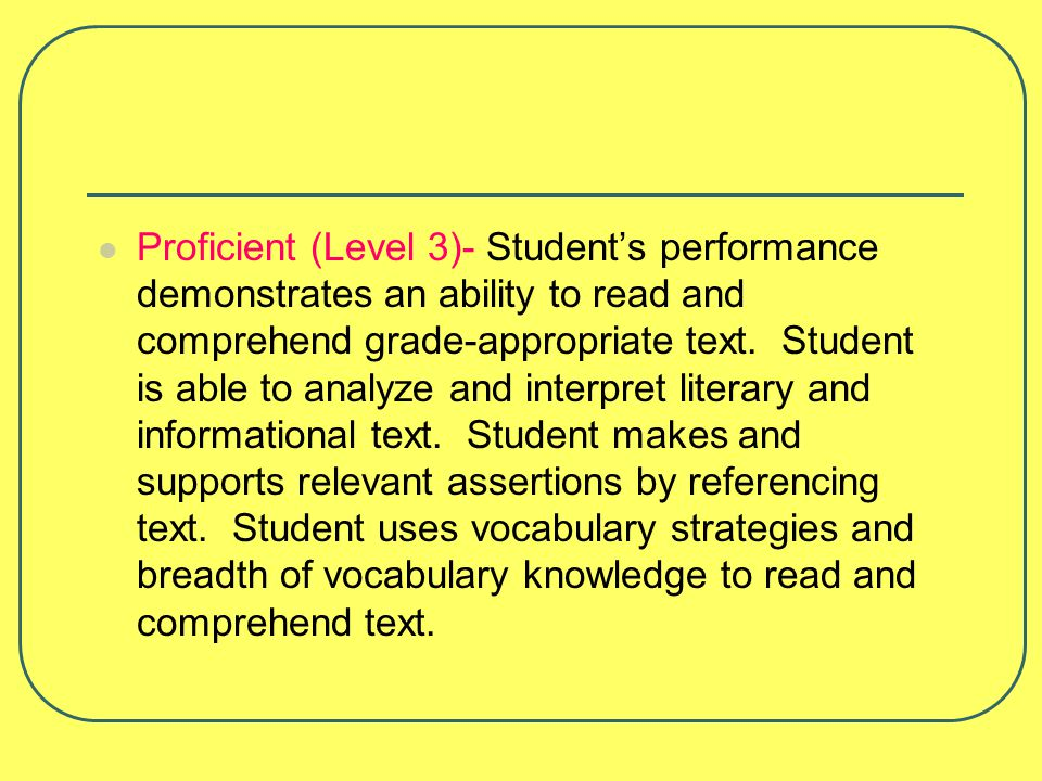 Proficient (Level 3)- Student's performance demonstrates an ability to read and comprehend grade-appropriate text.