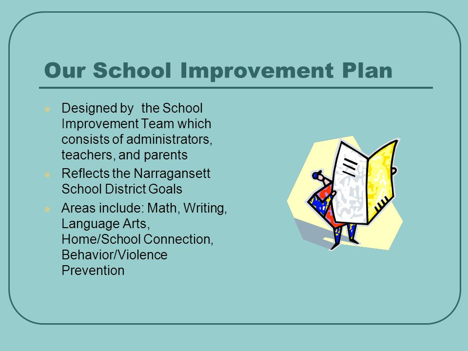 Our School Improvement Plan Designed by the School Improvement Team which consists of administrators, teachers, and parents Reflects the Narragansett School District Goals Areas include: Math, Writing, Language Arts, Home/School Connection, Behavior/Violence Prevention