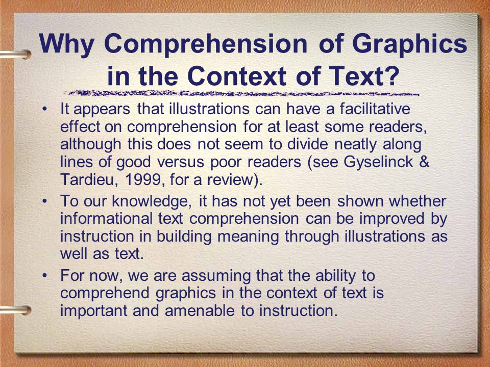 Why Comprehension of Graphics in the Context of Text.