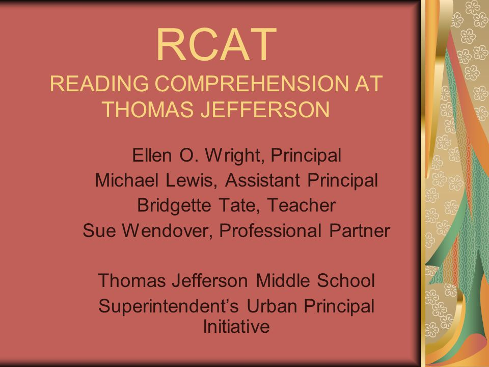 Abstract of the Study Fifty-five percent of the seventh grade students at Thomas Jefferson Middle are struggling with reading comprehension.