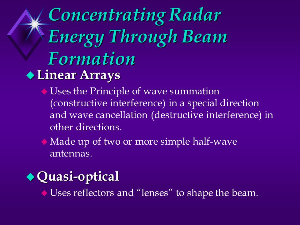 Concentrating Radar Energy Through Beam Formation u Linear Arrays u Uses the Principle of wave summation (constructive interference) in a special direction and wave cancellation (destructive interference) in other directions.